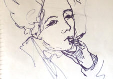 smoking woman sketch