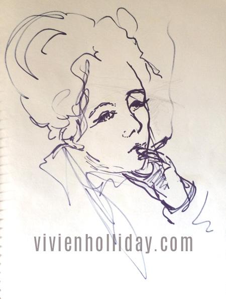 smoking woman sketch